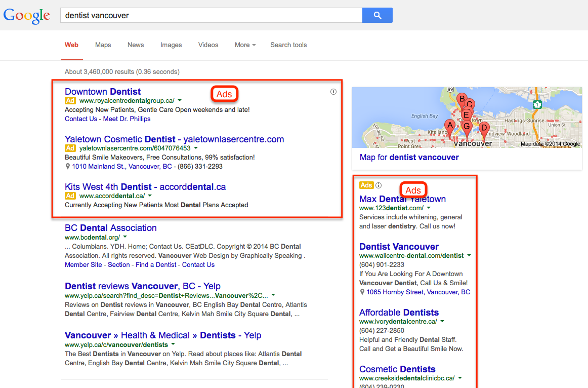 Search result showing Google Adwords